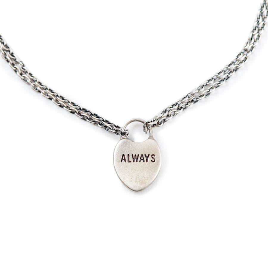 "silver bracelet with heart lock charm with ""always"" engraved"