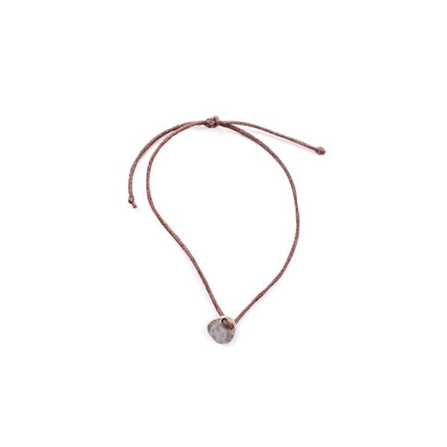 brown thread pull bracelet with hammered silver charm