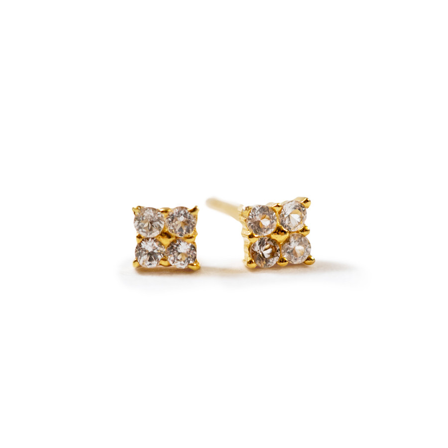 square shaped gold post earrings with white topaz stones