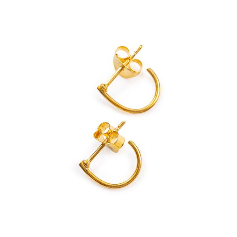 gold post earrings, mini hoop