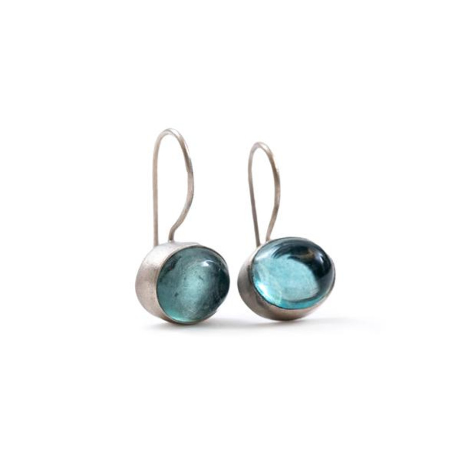 silver dangle earrings with apatite stone