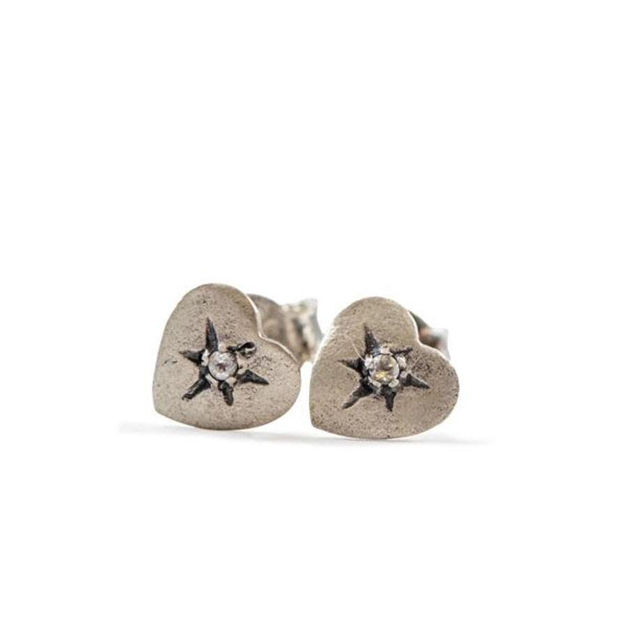 heart shaped silver post earrings with white topaz stone