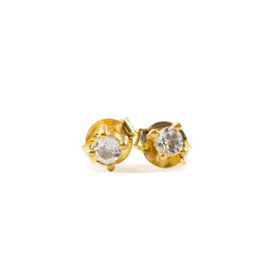 gold post earrings with crystal stone