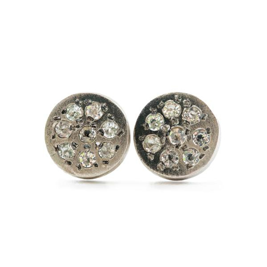 silver post earrings with round pendant face