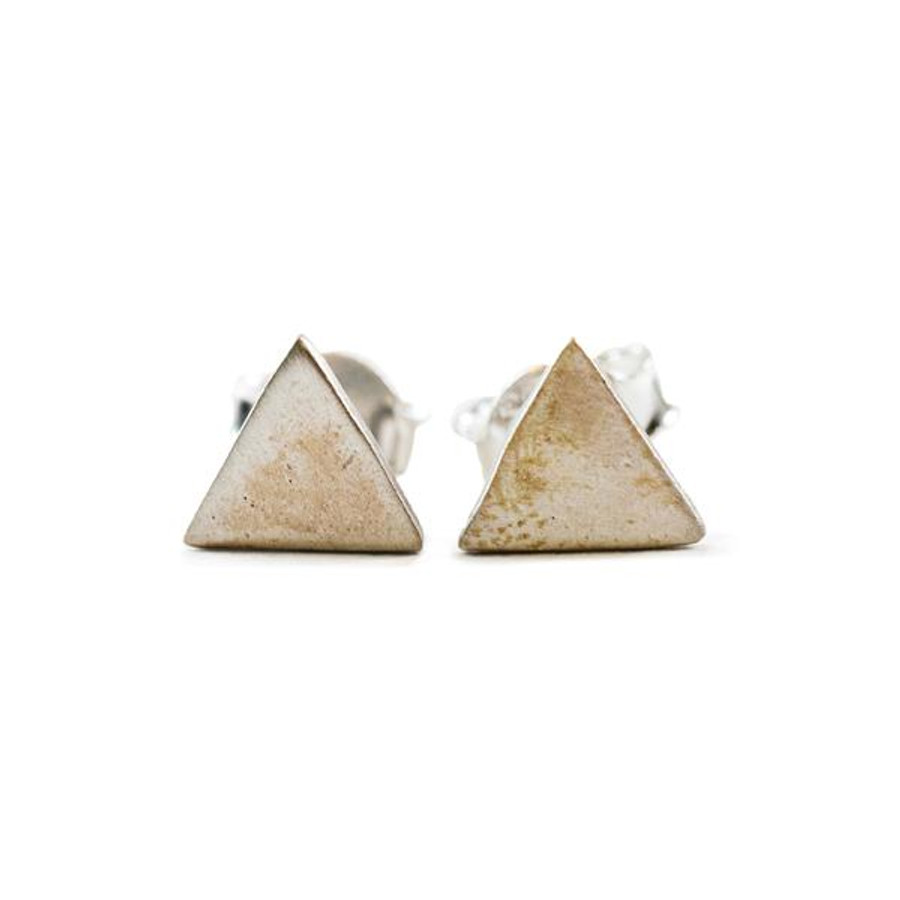 silver post earrings in the shape of triangles