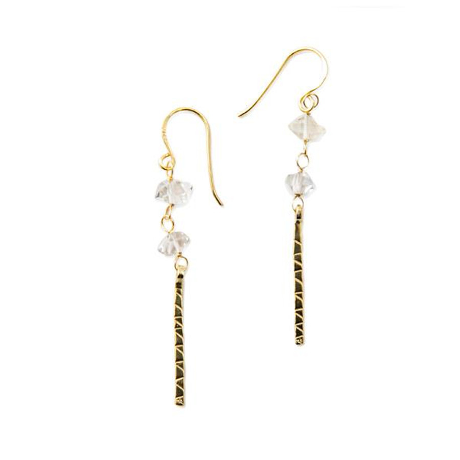 gold dangle earring with quartz stones