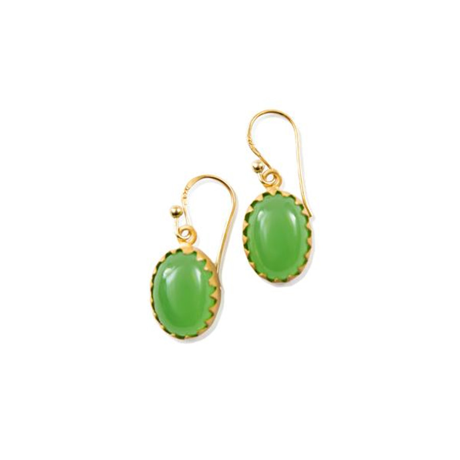 gold dangle earrings with green prehnite oval stones