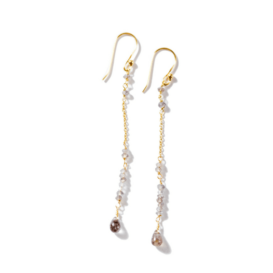 gold dangle earrings with chain and labradorite stones