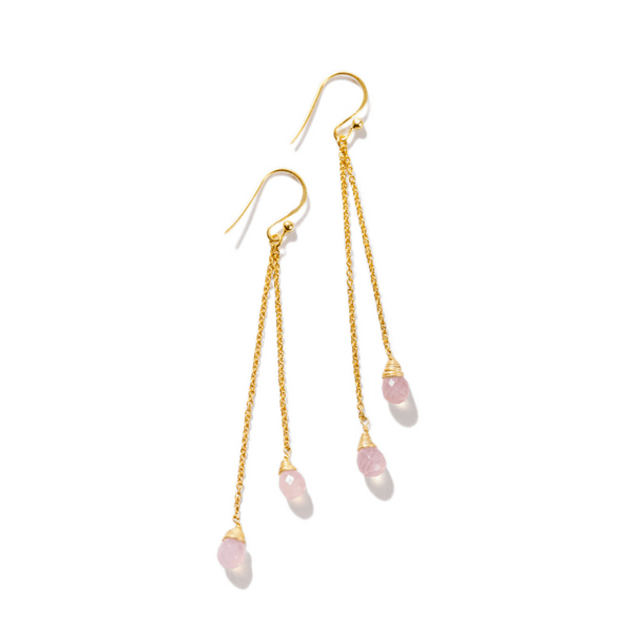 gold dangle earrings with chain and rose chalcedony stones
