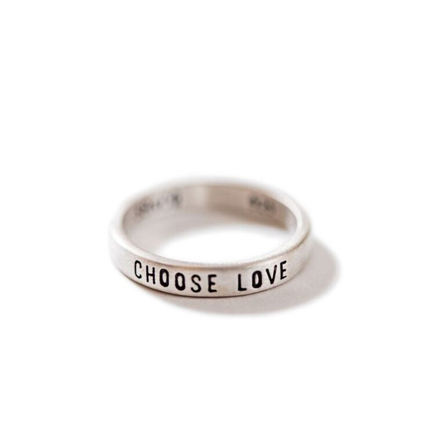 """sterling silver ring with """"choose love"""" engraved"""