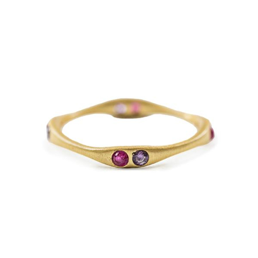 gold ring with amethyst and pink quartz stones