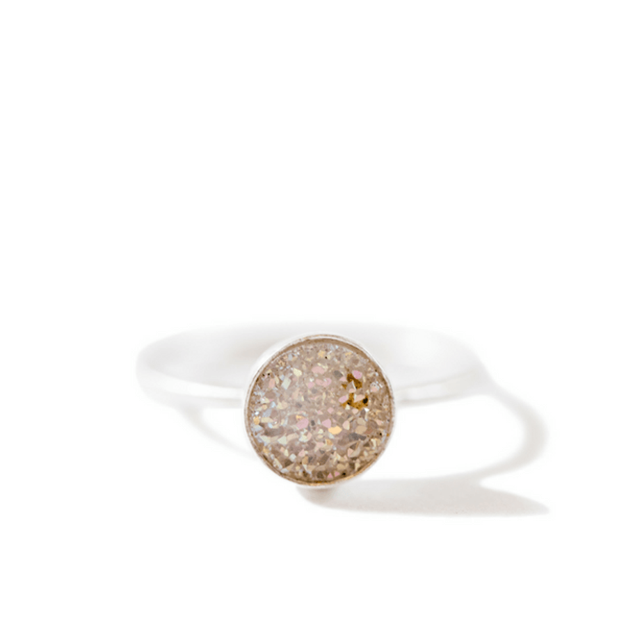 silver ring with round white druzy stones