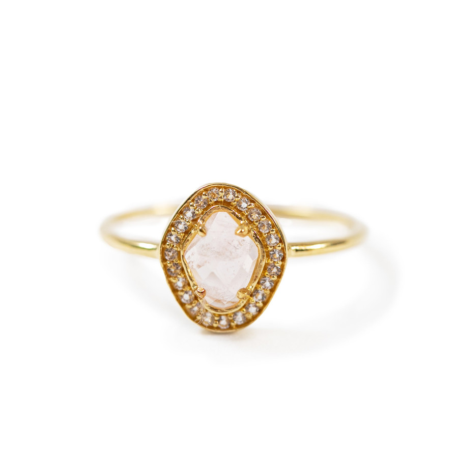 gold ring with rose quartz center stone