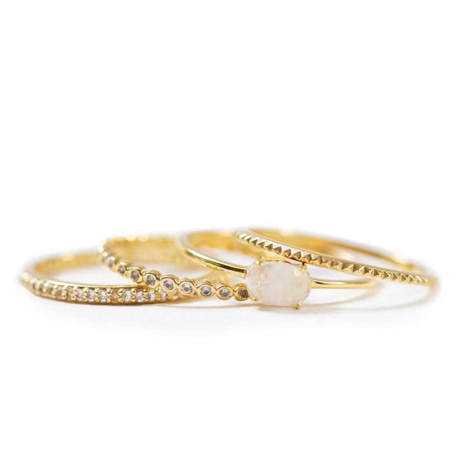 gold stacking ring set with rainbow moonstone