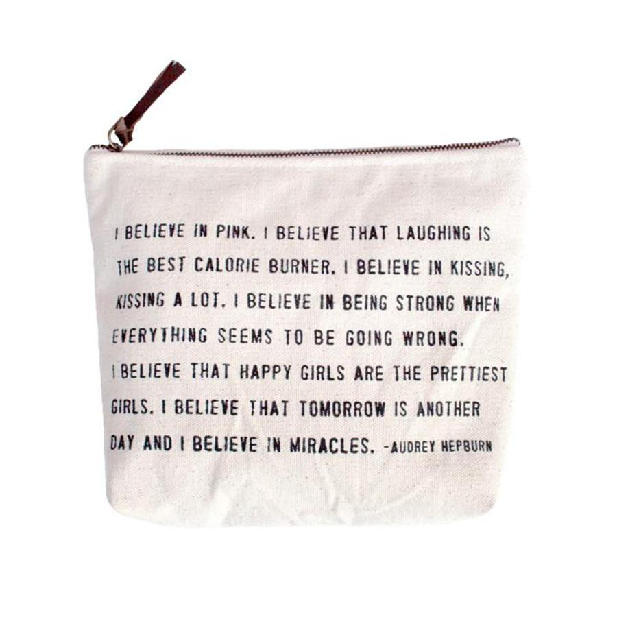 """canvas zip bag with example quote """"I believe in pink... - Audrey Hepburn"""""""