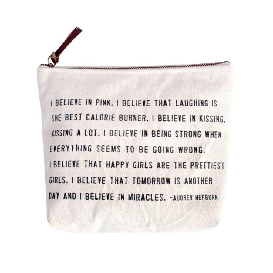 "canvas zip bag with example quote ""I believe in pink... - Audrey Hepburn"""