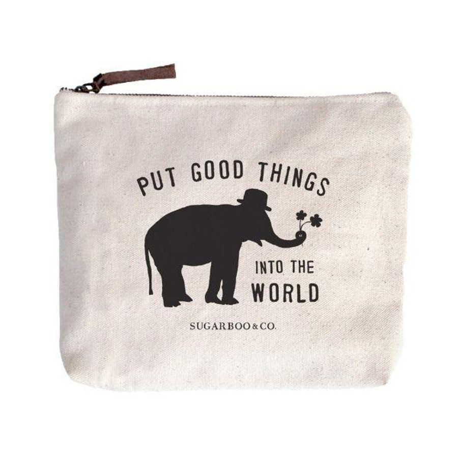 """canvas zip bag with black sugarboo logo (elephant with the quote """"put goo things into the world"""")"""