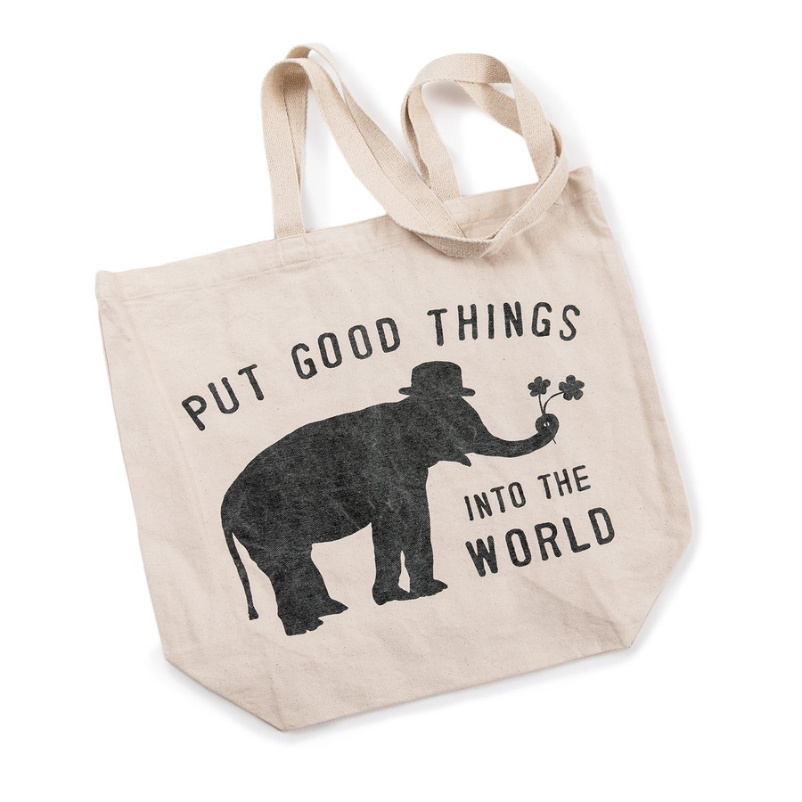 """canvas tote bag with long handles and sugarboo logo (elephant with """"put good things into the world"""")"""