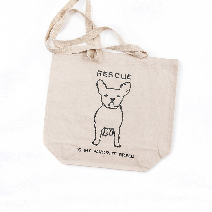 """canvas tote bag with long handles, outline of french bulldog and the quote """"rescue is my favorite breed"""""""