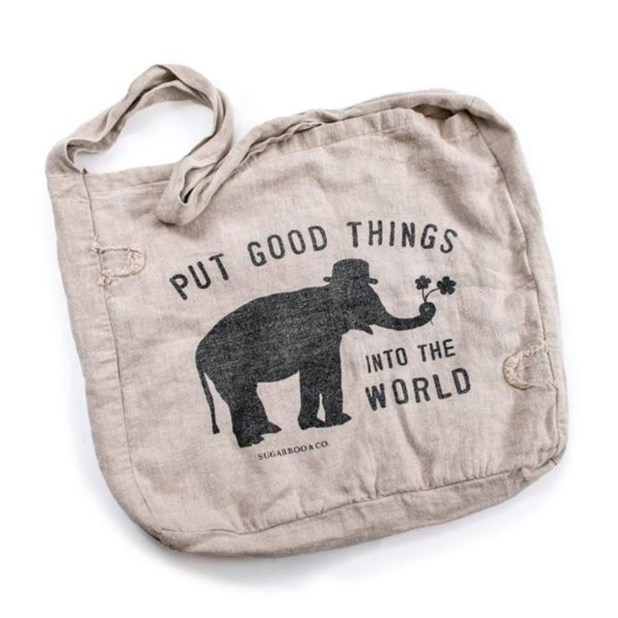 "canvas messenger bag with black sugarboo logo (elephant with ""put good things into the world)"