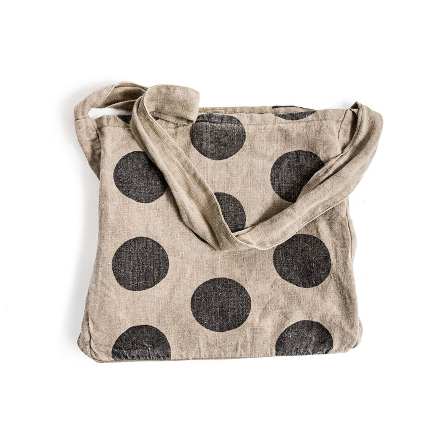 canvas messenger bag with black polka dots