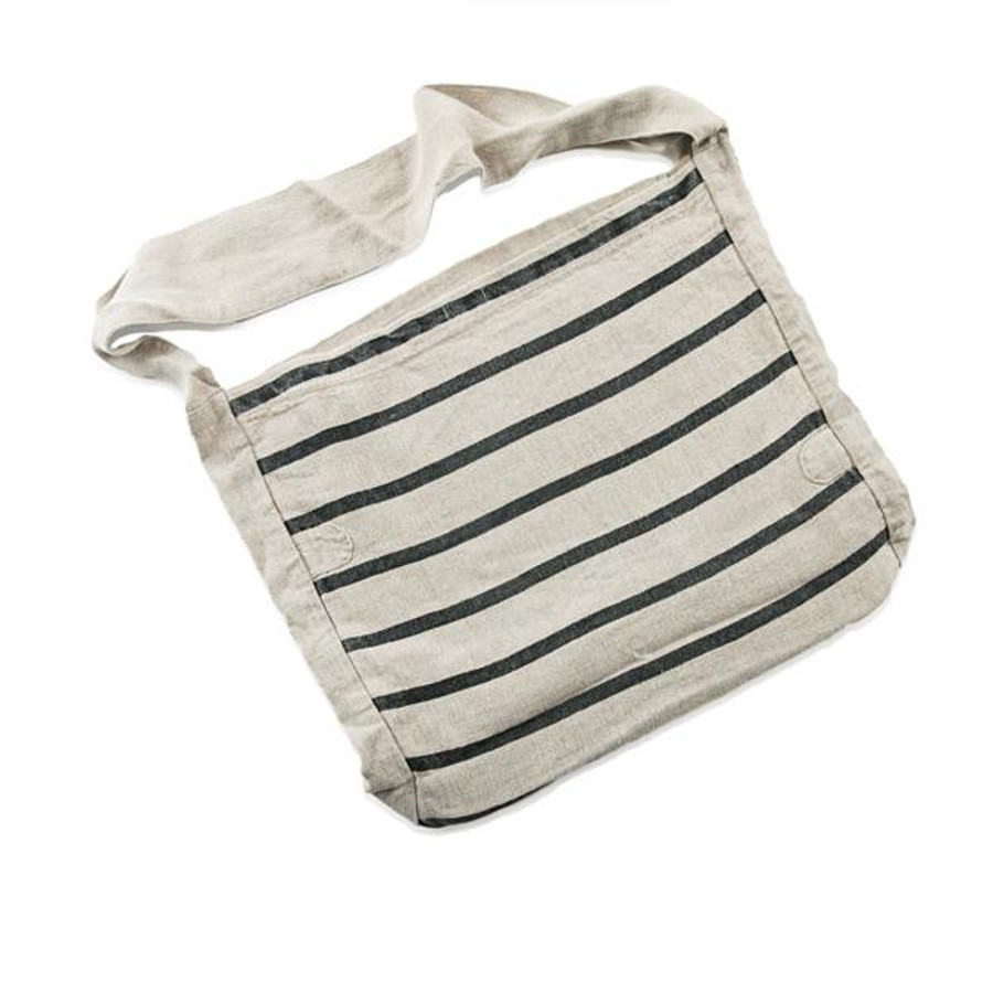 canvas messenger bag with black horizontal stripes