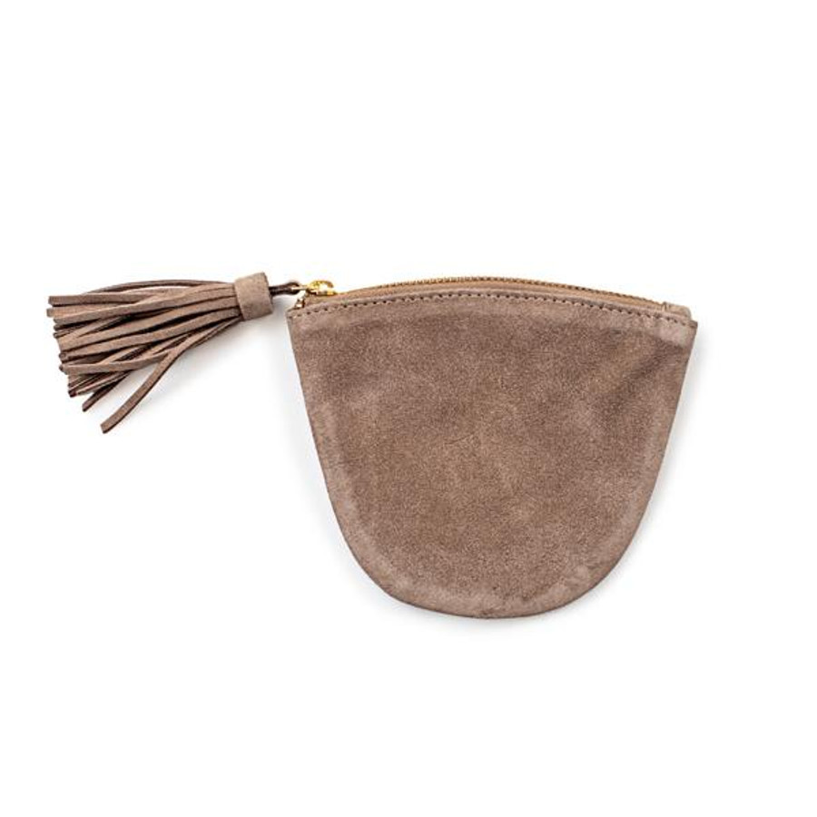 tan suede coin pouch with tassel and zipper
