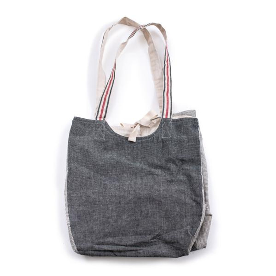 grey canvas tote bag with red and cream striped handles
