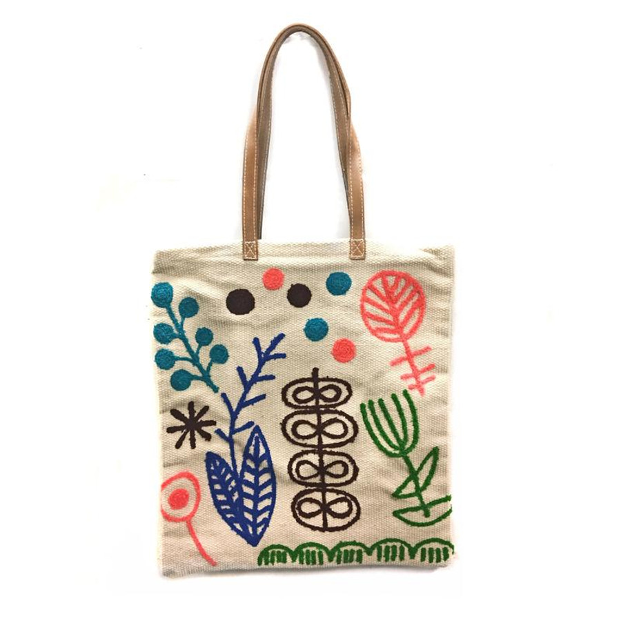 canvas tote bag with leather straps and leaves/ floral colorful embroidery