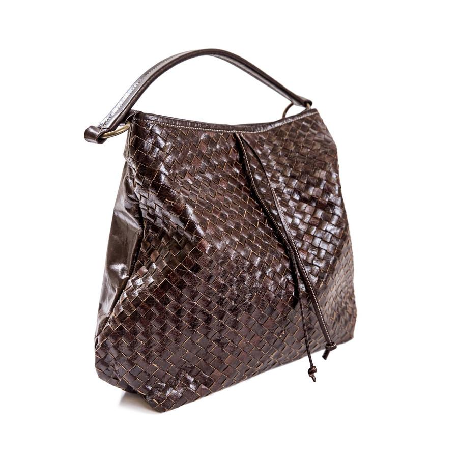 brown leather hobo style handbag