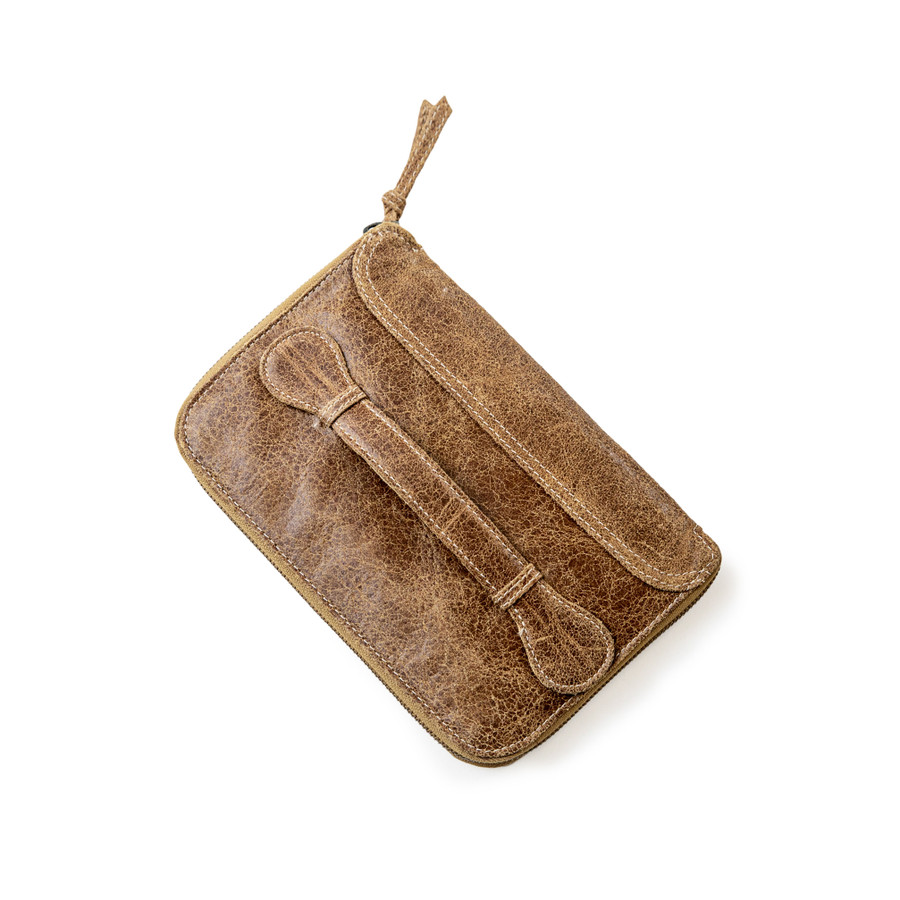 brown leather wallet/ clutch