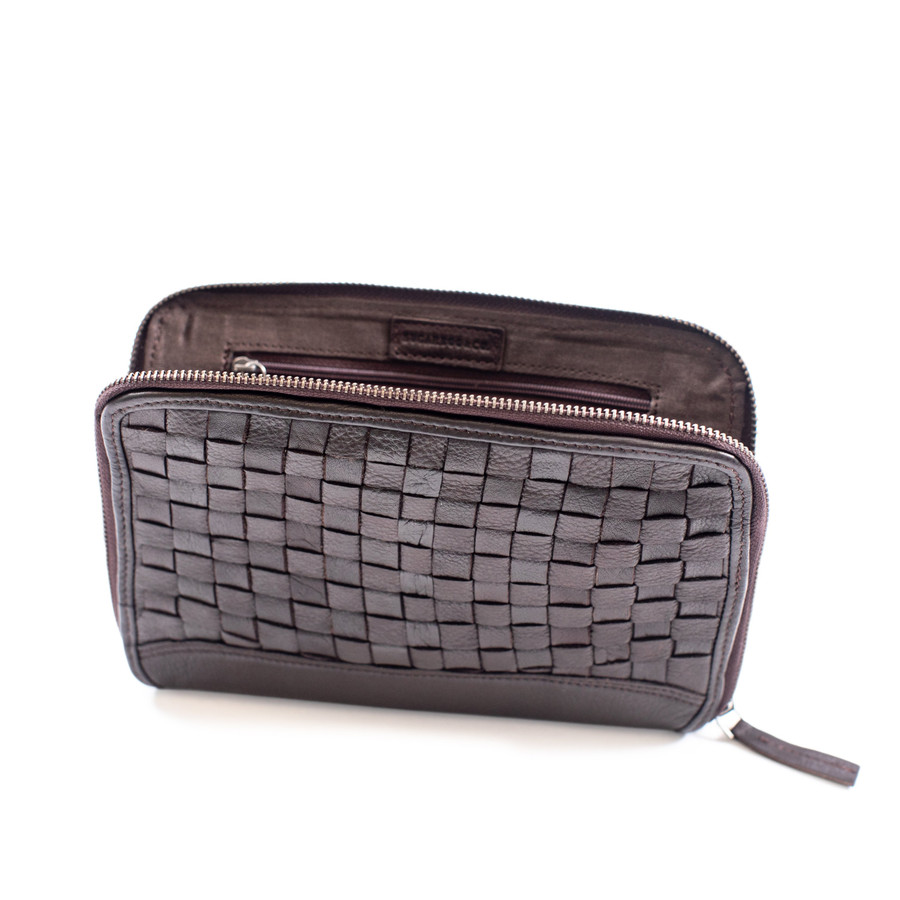 brown woven leather wallet