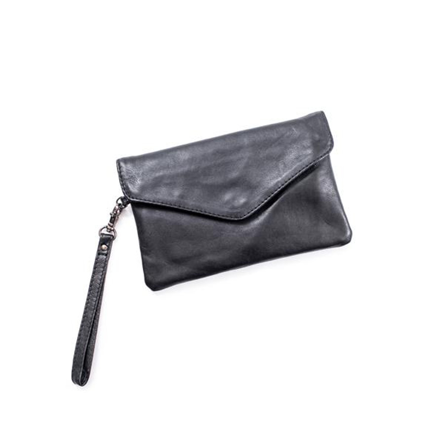 black leather clutch with a  flap closure and band for wrist