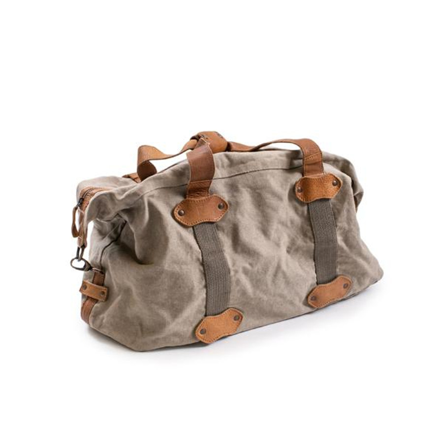 khaki and leather duffle bag