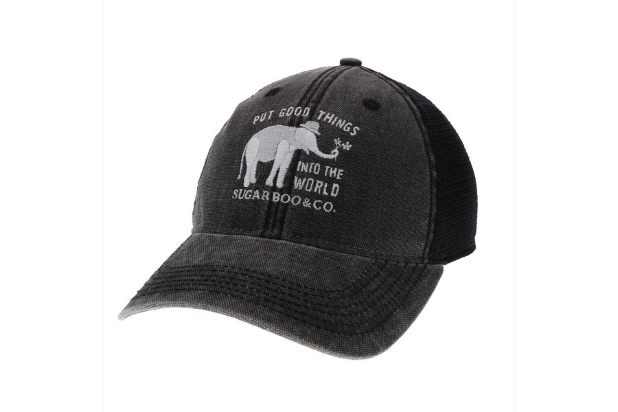 "all black trucker hat with the signature sugarboo logo embroidered in white. logo include elephant and the motto ""put good things into the world"""