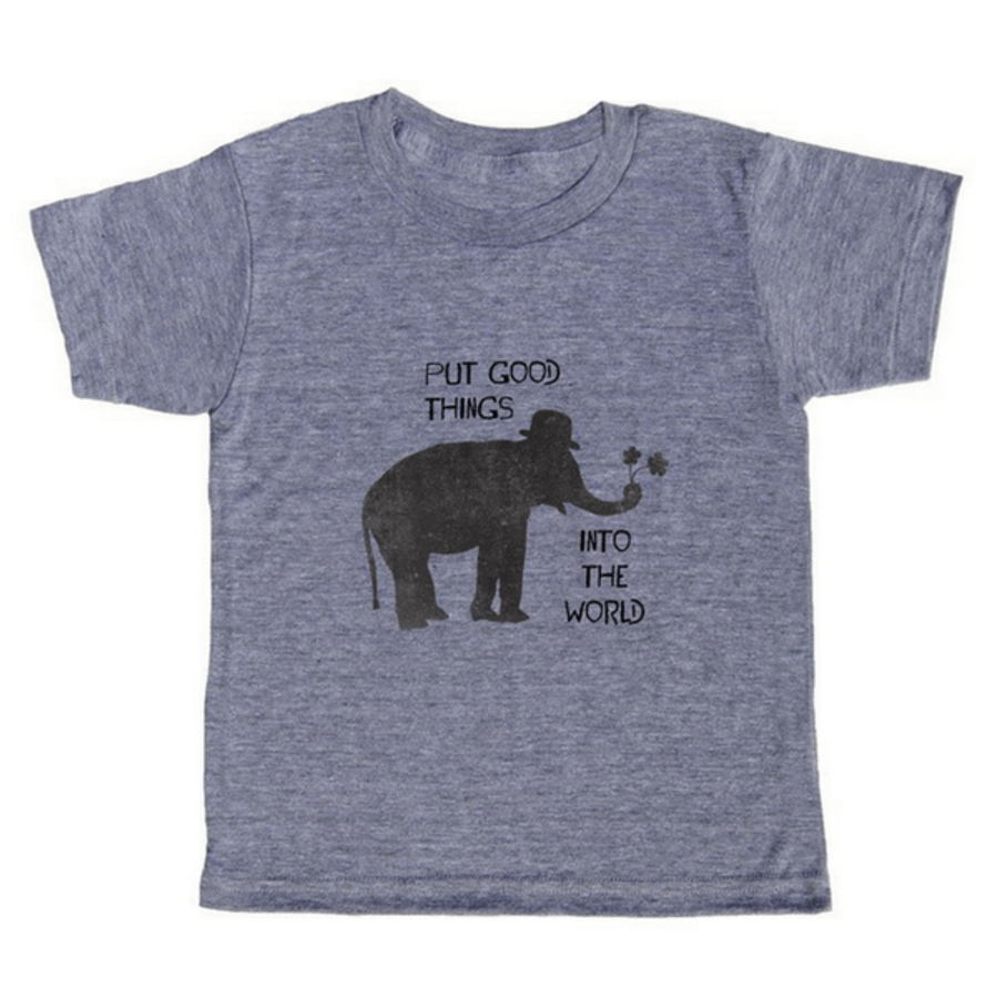"grey t-shirt with black lettering - our sugarboo logo, an elephant with the motto ""put good things into the world"""