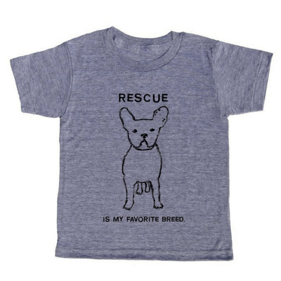grey t-shirt with black lettering - rescue is my favorite breed with a french bulldog pictured in the middle
