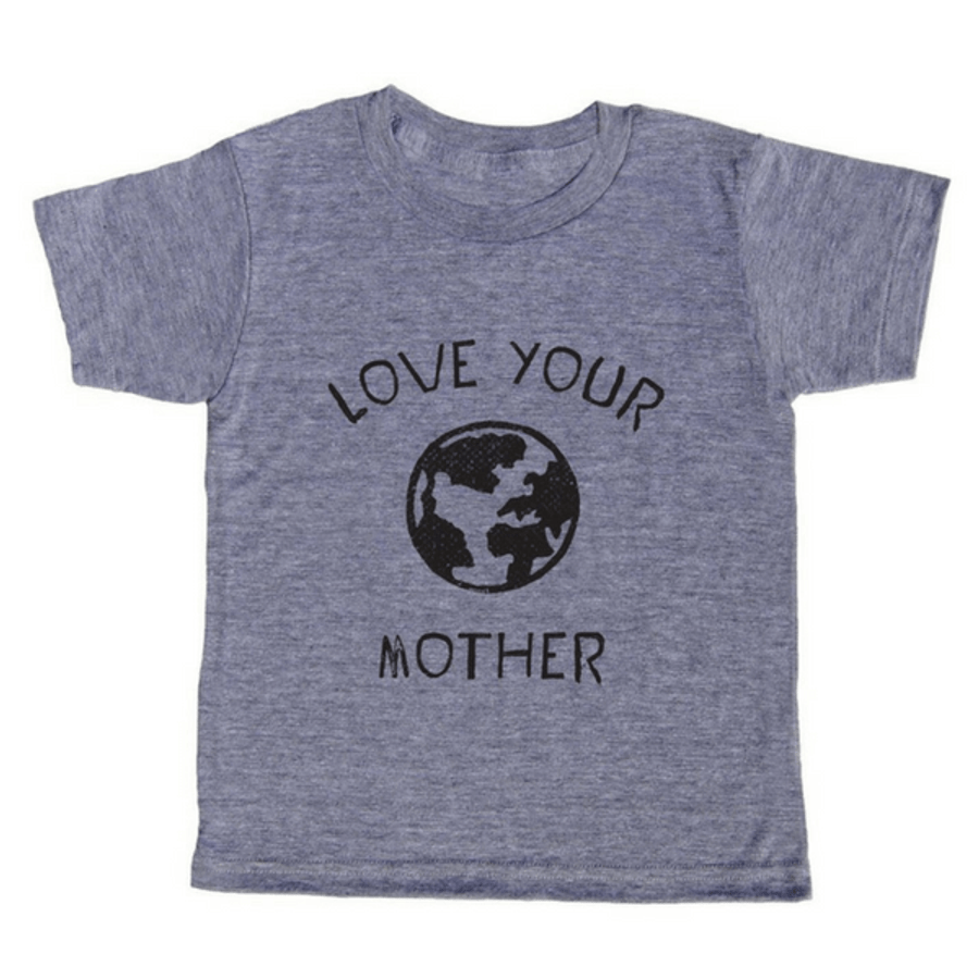 grey t-shirt with black lettering - love your mother earth with a globe pictured in the center