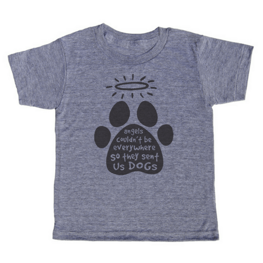 grey t-shirt with black lettering - angels couldn't be everywhere so they sent us dogs written inside a paw print and a halo hovering over the paw print