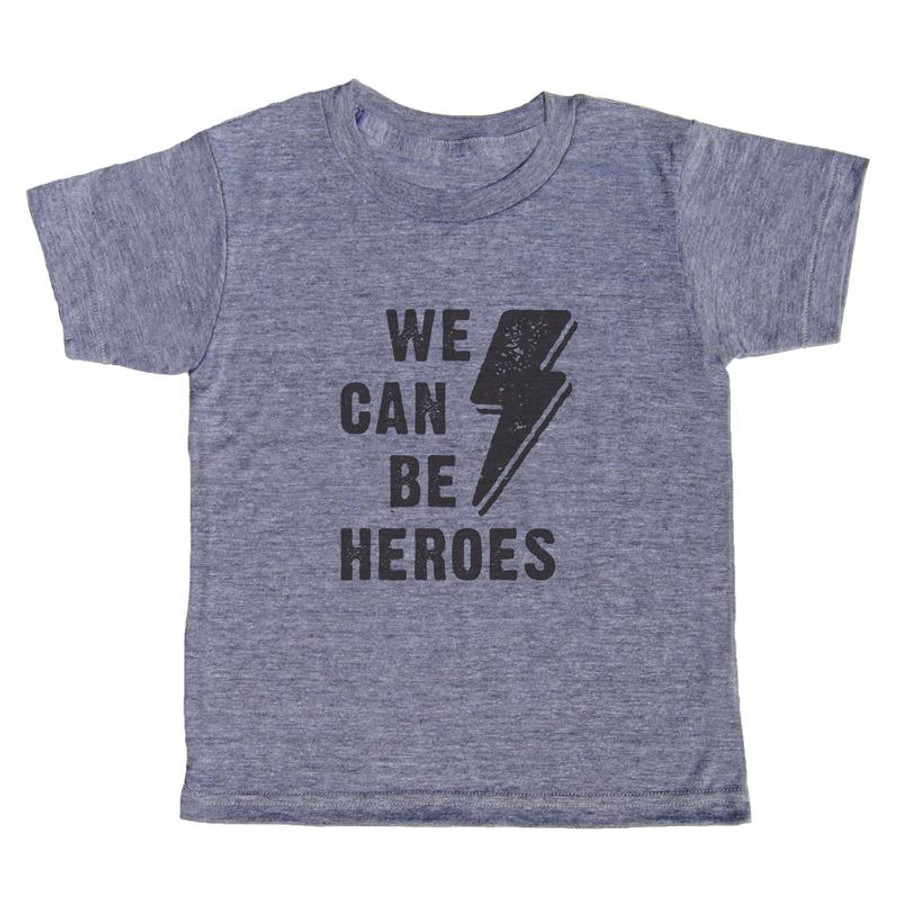 grey t-shirt with black lettering - we can be heroes with a lighting bolt