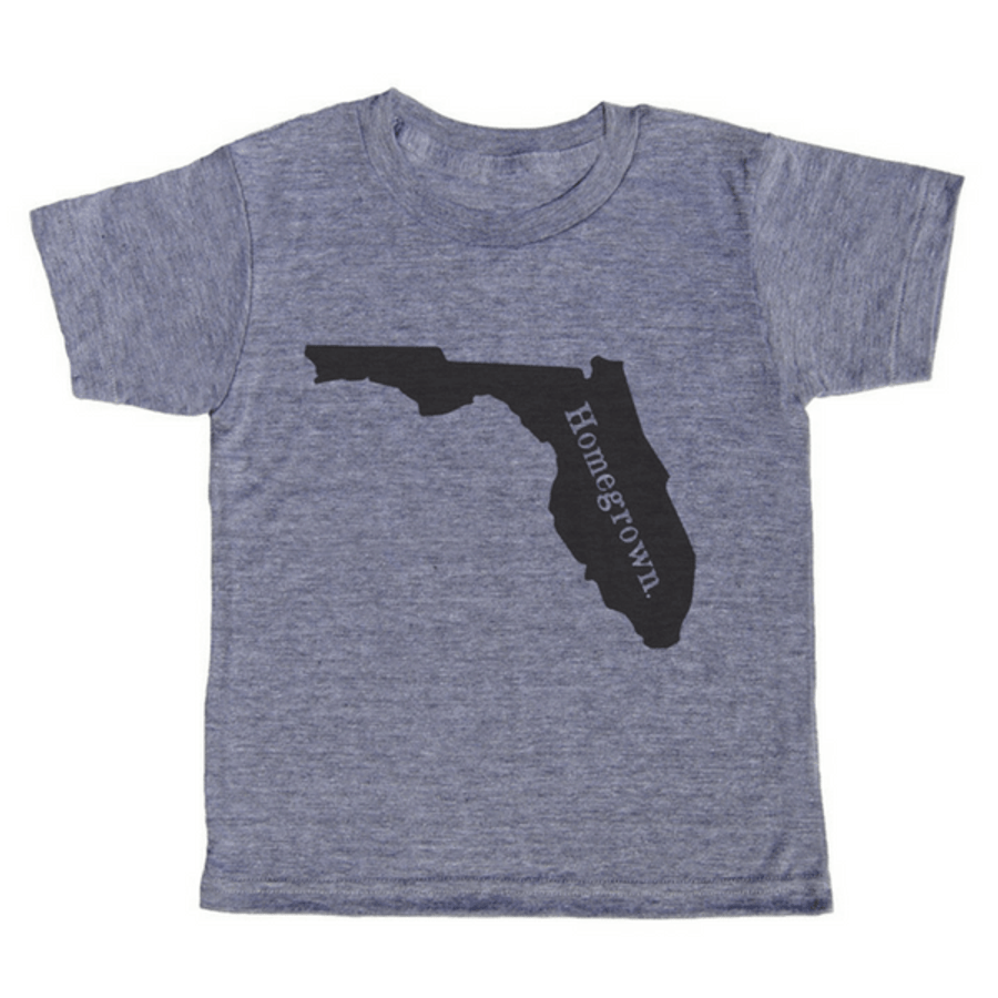 "grey t-shirt with black lettering - state of florida with ""homegrown"" written in the middle"