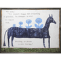 """This art print features a blue horse and reads, """"You mustn't forget that everything is possible. No dreamer is ever too small and, Darling, no dream is ever too big."""""""
