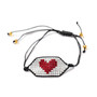 Heart on White Beaded Bracelet