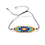 Blue & Gold Patterned Beaded Bracelet