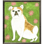 This art print features a bright green backgroundwith a dog accented by pink flowers.