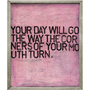 pink art print with black font