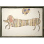 Multicolored dog printed on a light background.