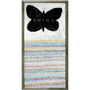 multicolored zigzags with a black butterfly