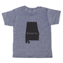 """grey t-shirt with black lettering - state of alabama with """"homegrown"""" written in the middle"""