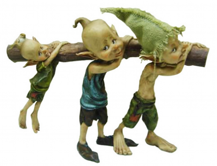 Three Elf Brothers Carrying Wood